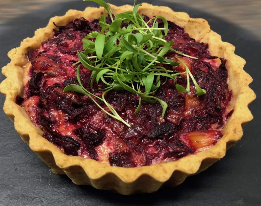 Beetroot and bacon quiche recipe
