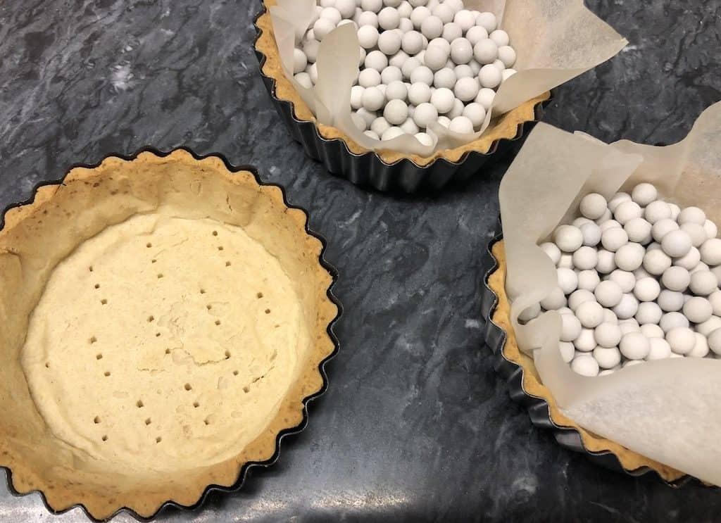 Shortcrust pastry baked blind
